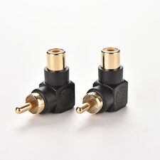 2Pcs RCA Male to Female M/F Connector Adapter Audio AV Plug 90 Right-angle TB