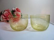 Vtg pair of greenish yellow etched glass bowls