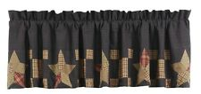New Country Primitive Arlington STAR QUILT PATCH BORDER Navy Red Tan Valance