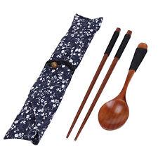 Portable Wooden Chopsticks Spoon Tableware Set Vintage + Blue Bag For Best Gift