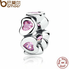 Bamoer S925 Sterling Silver Charms Pink Sparling Hearts Spacer Fitting Bracelets