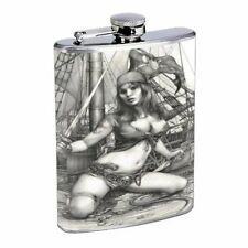 SAVAGE SEXY PIRATE SHIP PIN UP GIRL STAINLESS STEEL 8oz FLASK D 458