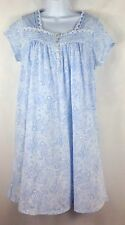 Eileen West Nightgown Size M Light Blue Floral Paisley Short Sleeves Lace Ribbon