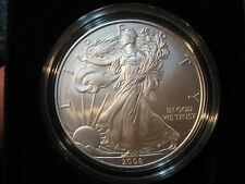 Two 2008-W Burnished Unc Silver Eagle 1-oz Dollars in Two Different Sized Boxes