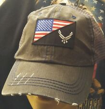 Air Force Logo USA Flag Distressed Trucker Hat Low Profile Cotton Mesh Dark Gray
