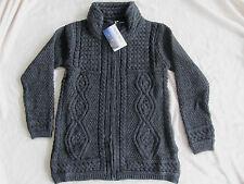 Aran Mor Irish Ireland Zip Front Cardigan Sweater Coat-Charcoal/Gray-Medium-NWT