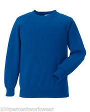 Size XS Jerzees 762M ROYAL BLUE Sweatshirt Jumper Raglan Long Sleeve Crew Neck