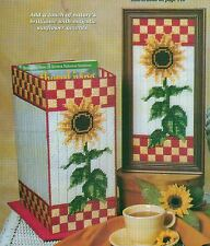 SUNNY SUNFLOWERS BOX PICTURE VASE PLASTIC CANVAS PATTERN INSTRUCTIONS