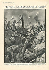 1915 WWI PRINT ~ UTILISING A CAPTURED GERMAN TRENCH REFASHIONED FOR OUR DEFENCE