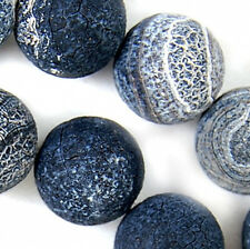 12mm Black Frosted Agate Round Beads 14""