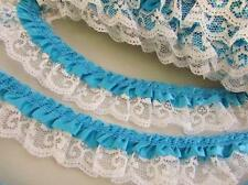 5 yards Satin French 2 Layer Ruffle Floral Lace Trim/trimming T39-Turquoise Blue