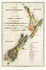 MAP REPRO ANTIQUE 1883 HECTOR SKETCH NEW ZEALAND GEOLOGY LARGE ART PRINT LF872