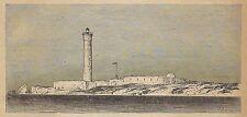 A3030 Alessandria d'Egitto - Moderno Faro - Stampa Antica del 1888 - Incisione