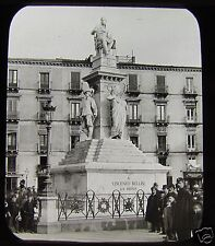 Glass Magic Lantern Slide CATANIA STATUE OF BELLINI SICILY C1890 ITALY