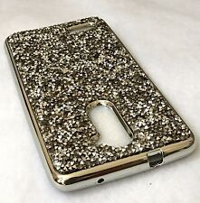 For ZTE ZMAX PRO Z981 - HARD TPU RUBBER GUMMY CASE COVER CRYSTAL DIAMOND STUDS