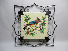ANCIEN CARREAU FAIENCE EMAUX LONGWY DECOR OISEAU MONTURE FER FORGE A SUSPENDRE