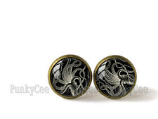 Retro Style Handmade Glass Dome Stud Earrings, Octopus Illustration, A-599