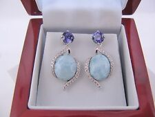 Natural Blue Larimar Tanzanite Comb 925 Sterling Silver  Dangling Earrings