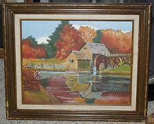 Original Acrylic Painting of Country Scene w/Water Wheel on 11 x 14 canvas board