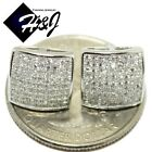 MEN 925 STERLING SILVER SQUARE 10MM LAB DIAMOND ICED OUT BLING STUD EARRING