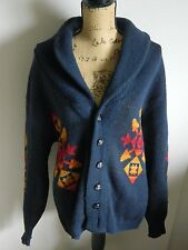 PENDLETON SHAWL COLLAR NAVAJO SOUTHWEST SWEATER L Navy Blue Button Up Cardigan