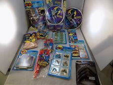 BATMAN 1980's PARTY LOT cups plates candle bags, tablecloth all new (7AB 39)