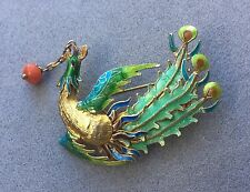 Vintage Antique Chinese Gilt Silver Enamel Bird Pin