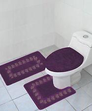 3PC #5 PURPLE BATHROOM BATH MATS RUG CARPET CONTOUR LID COVER COMPLETE SET