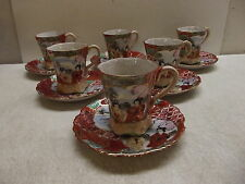6 VINTAGE JAPANESE DAI NIPPON SATSUMA PORCELAIN TEACUP TEA CUP & SAUCER MARKED