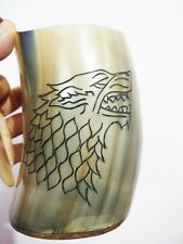 Game of thrones hand carved wolf viking Drinking Horn beer Mug tankard christmas