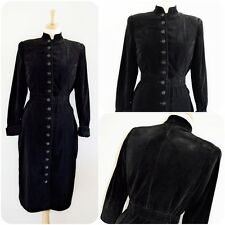Vintage ORIGINAL 1930's 40's BLACK VELVET wiggle coat dress ART DECO BUTTONS 6 8
