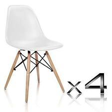 4 x Retro Style Replica Eames Eiffel DSW Dining Table Kitchen Chair Set - White