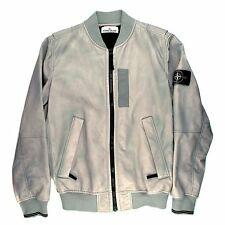 STONE ISLAND GREY LEATHER JACKET - NEW - LARGE - L - BOMBER COAT GRAY ZIP FLIGHT
