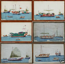 6 ANTIQUE CHINESE CHINA QING DYNASTY WATERCOLOR PAINTING PITH ALBUM JUNK 1830