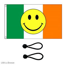Smiley Ireland  Flag 5 x 3ft Flag Poles,Windsocks Poles.With FREE  BALL TIES