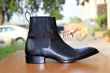 New Handmade Custom Mens Black Chelsea Real Leather Boots, Men Black boots