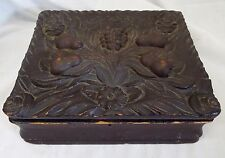 EARLY ANTIQUE Large CARVED WOODEN Pear & Roses Designed MEMENTO KEEPSAKE BOX