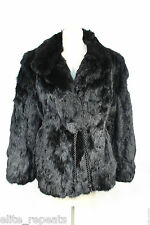 100% Genuine Rabbit Fur Coat, Solid Black Rabbit Tie Waist Stylish Jacket M/L