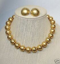 Chunky Anne Klein Brushed Gold Bead Necklace Paired w/ Erwin Pearl Clip Earrings