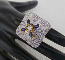 Indian CZ AD Ethnic Gold & Silver Tone Bollywood Ring Bridal Jewellery Free Size