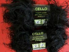 Sensations Cello eyelash fashion yarn, black, lot of 2