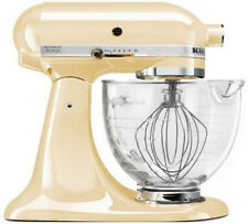 KitchenAid Stand Mixer With Glass Bowl Delux Artisan Design Tilt Almond Cream