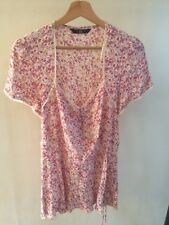 BM Pink Top Floral Short Sleeve Size 16 Viscose   T1606