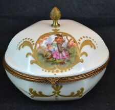Made France Dresser Box Jewelry Casket Brass Trim Courting Couple Signed Limoges