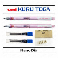 2 x Uni Kuru Toga Mechanical Pencil 0.7mm - Pink Barrel + Leads + Spare Erasers
