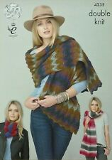 KNITTING PATTERN Ladies Shawls/Wraps and Snood DK King Cole 4235