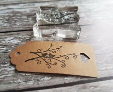 Tree love birds stamp ideal for gift tags and wedding favour tags