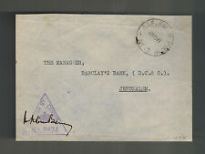 1941 England Field Post Office Censored Cover Barclays Bank Jerusalem Palestine