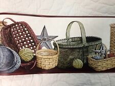 Primitive Country Baskets, Stars And Rag Balls Wallpaper Border