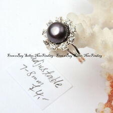 7-8mm Black Pearl Helianthus Crystal Silver Plated Ring Fashion Women Xmas Gifts